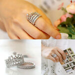 Women Girls 2Pc/Set Carved Queen Crown Pattern Ring Rhinestones Rings Jewelry