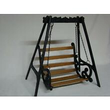 Cast Iron and Wood Doll Swing or Flower Holder Porch Decor 16