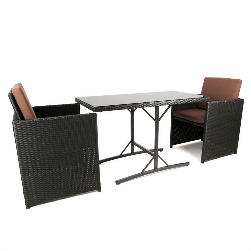 balkonm bel set sitzgruppe st hle rattan terrassenm bel rattan gartenm bel set ebay. Black Bedroom Furniture Sets. Home Design Ideas