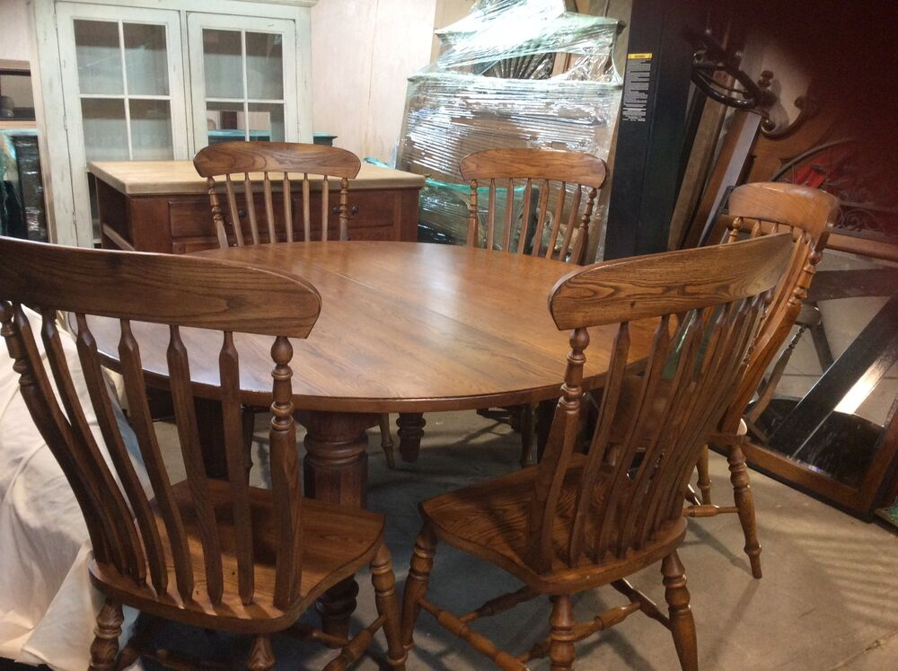 bob timberlake solid oak 60 in round dining table w 6