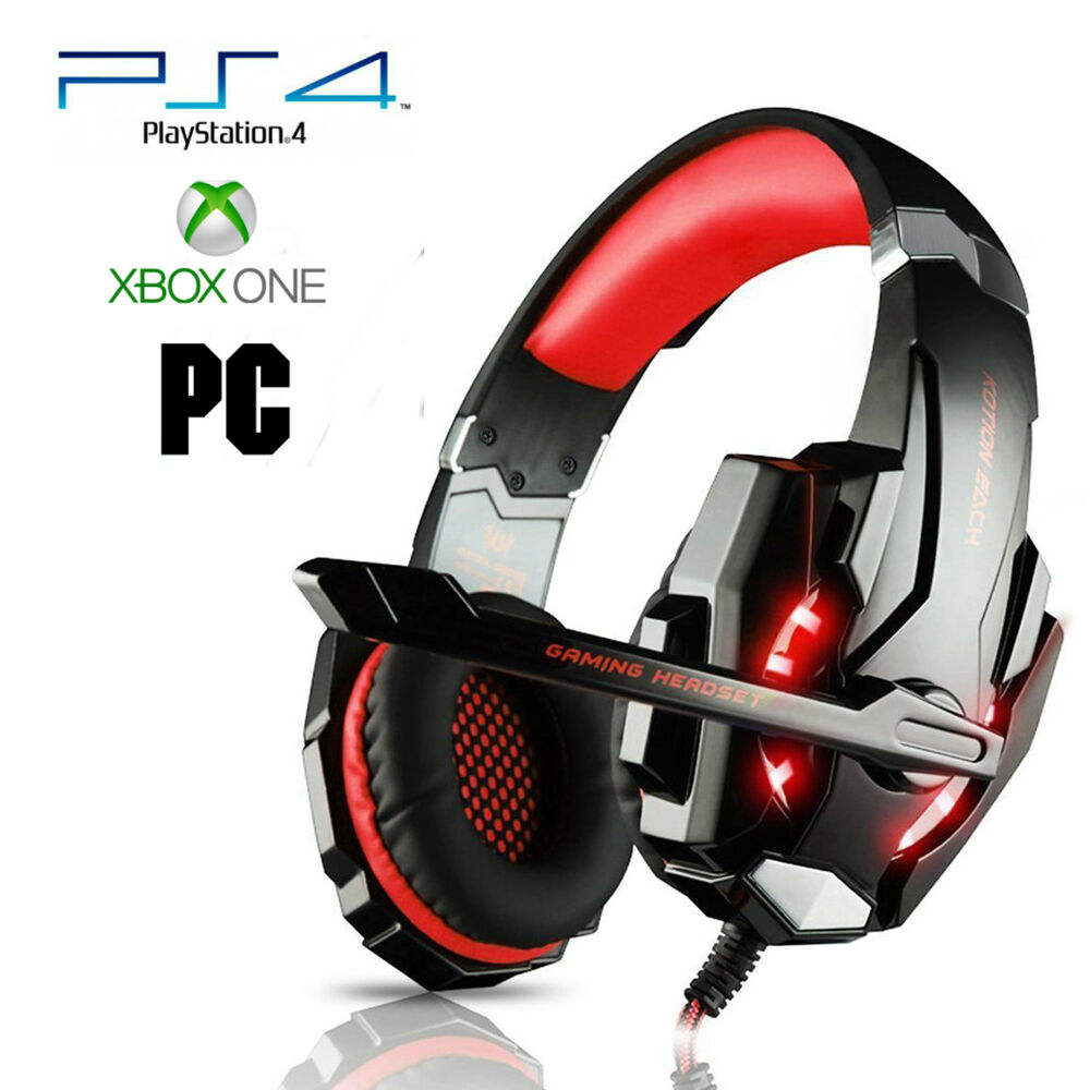 pro gamer ps4 headset for playstation 4 xbox one pc computer red headphones ebay. Black Bedroom Furniture Sets. Home Design Ideas