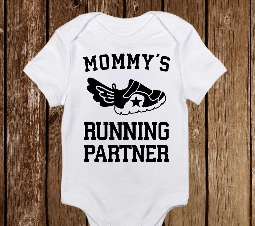 b1fcceabf Details about Mommy's Running Partner Onesie Fitness Workout Baby Girl/Boy  Baby Shower Gift