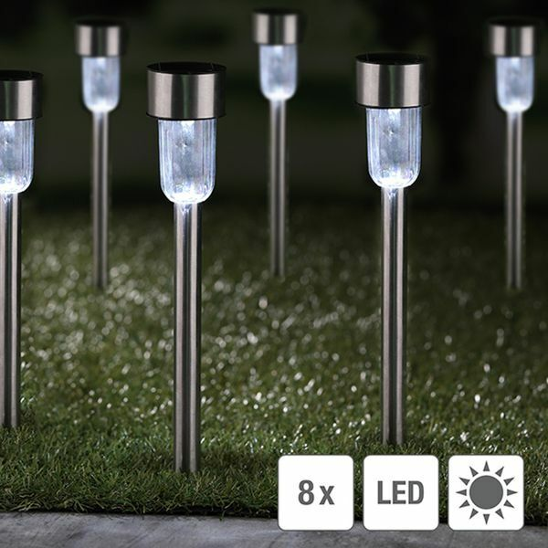 8er set solarlampen solarleuchte solarlicht beleuchtung garten solar lampe ebay. Black Bedroom Furniture Sets. Home Design Ideas