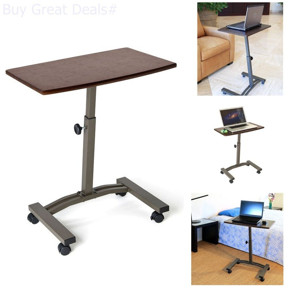 Rolling Laptop Table Adjule Cart Tray Wheels Desk Usb Couch Chair Computer