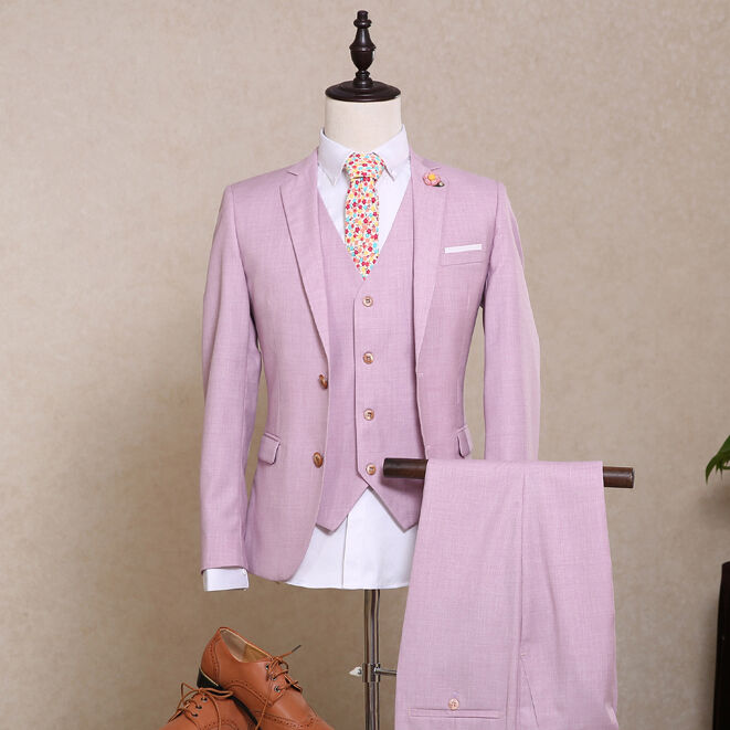 2019 Pink 3 Pieces Slim Fit Two Button Groom Tuxedo Best