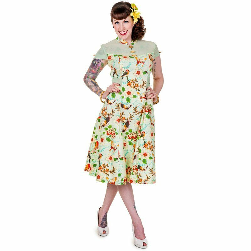 939e0e7e3711d Details about New L Mint dress Butterfly Vintage 1950s High Neck Pin Up Dress  Banned UK 14 Tea
