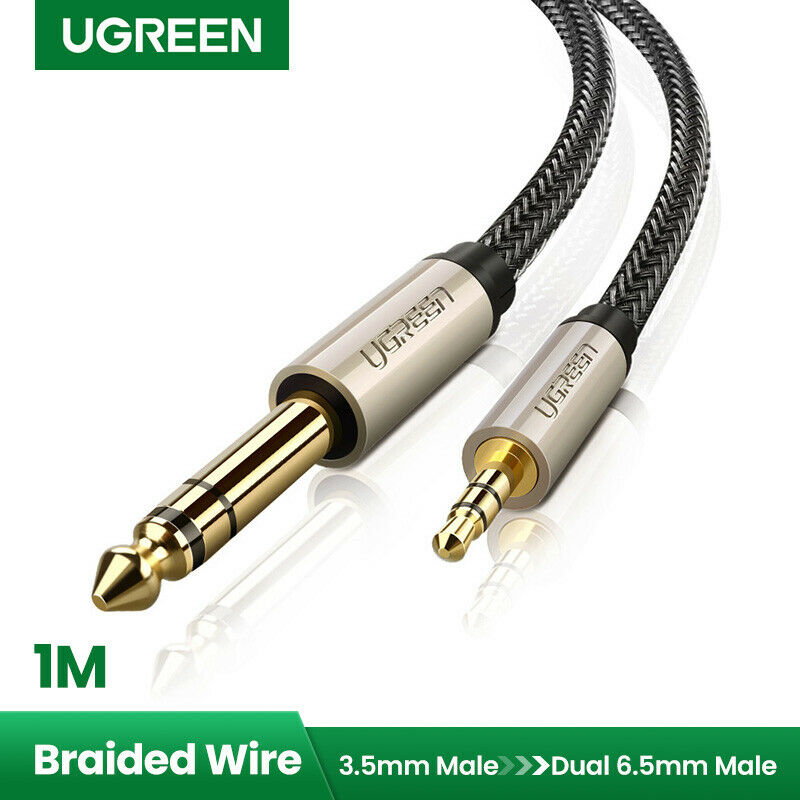 ugreen 1 8 male to 1 4 male trs stereo audio cable braid ipod 3ft ebay. Black Bedroom Furniture Sets. Home Design Ideas