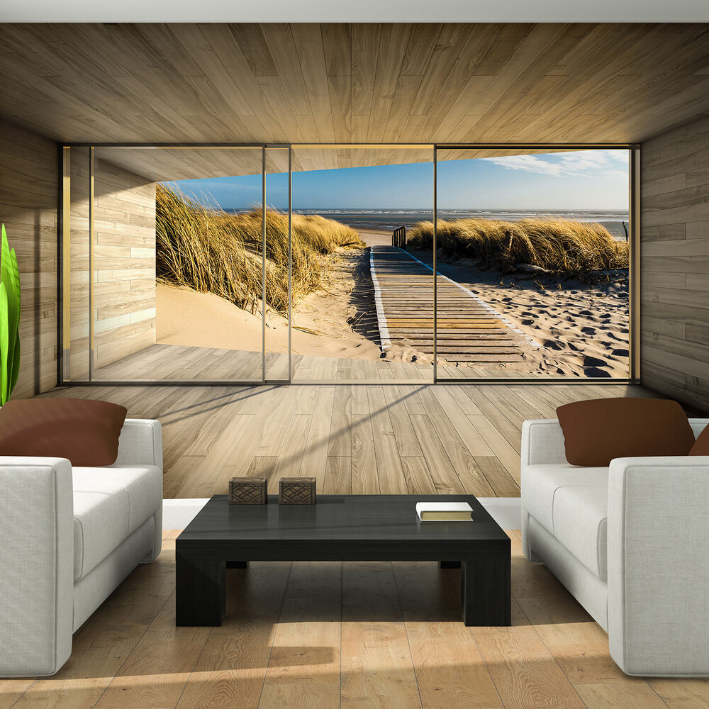 papier fototapete tapeten strand terrasse tunnel 3d natur sand meer 14n3297p8 ebay. Black Bedroom Furniture Sets. Home Design Ideas