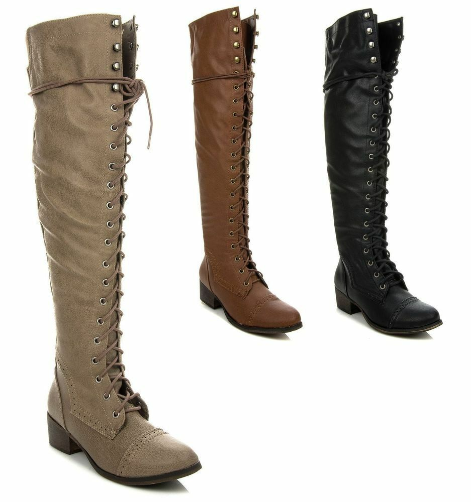 0244f81514c Details about ew Womens Over The Knee Up Fashion Military Combat Boots  Breckelle s ALABAMA-12
