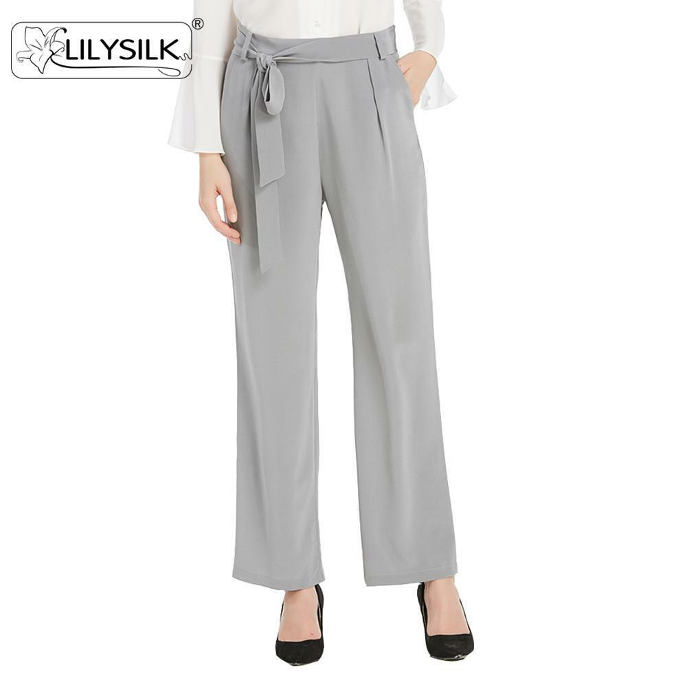 9f2752d05 Details about NEW LILYSILK 18 Momme Bow Belt Wide Leg Silk Trousers Pants  for Women 100 Silk