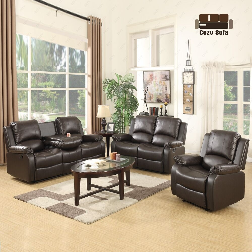 sofa set loveseat chaise couch recliner 3 2 1 seater brown On 7 seater living room set