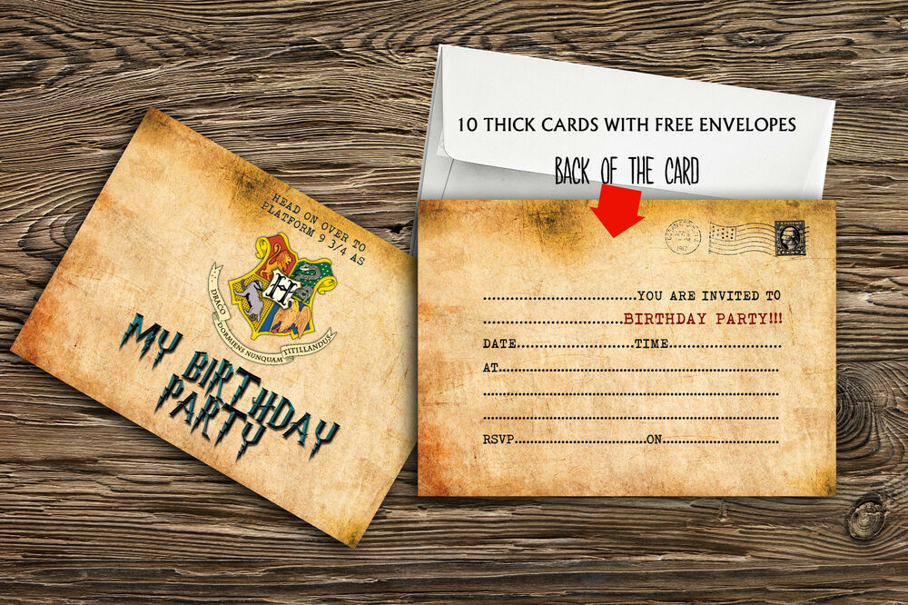 birthday party invitations harry potter  x 10 thick cards