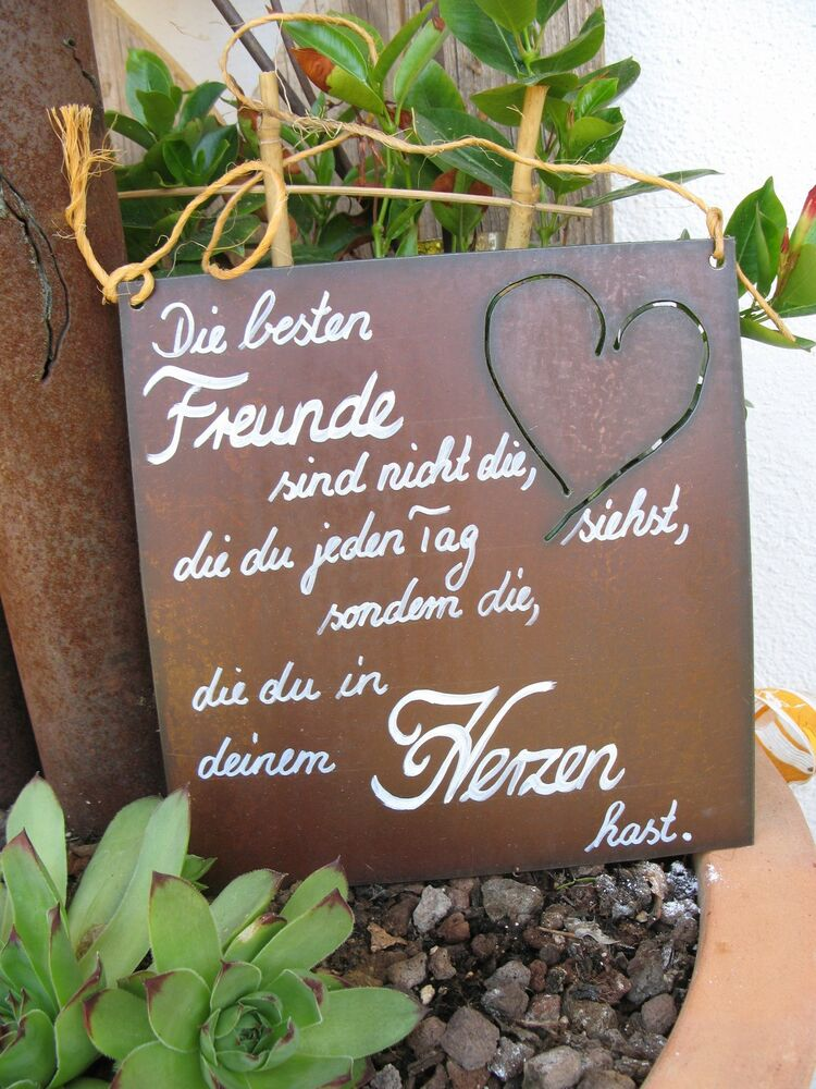 spruchtafel edel rost tafel garten schild die besten freunde 1 ebay. Black Bedroom Furniture Sets. Home Design Ideas