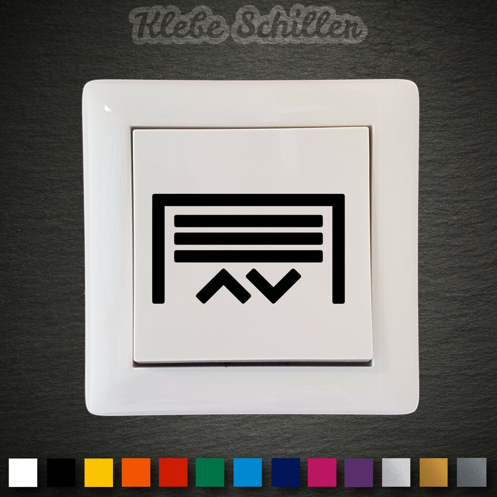 14418 garagentor aufkleber 45x26mm schalter taster symbole tor garage sticker ebay. Black Bedroom Furniture Sets. Home Design Ideas