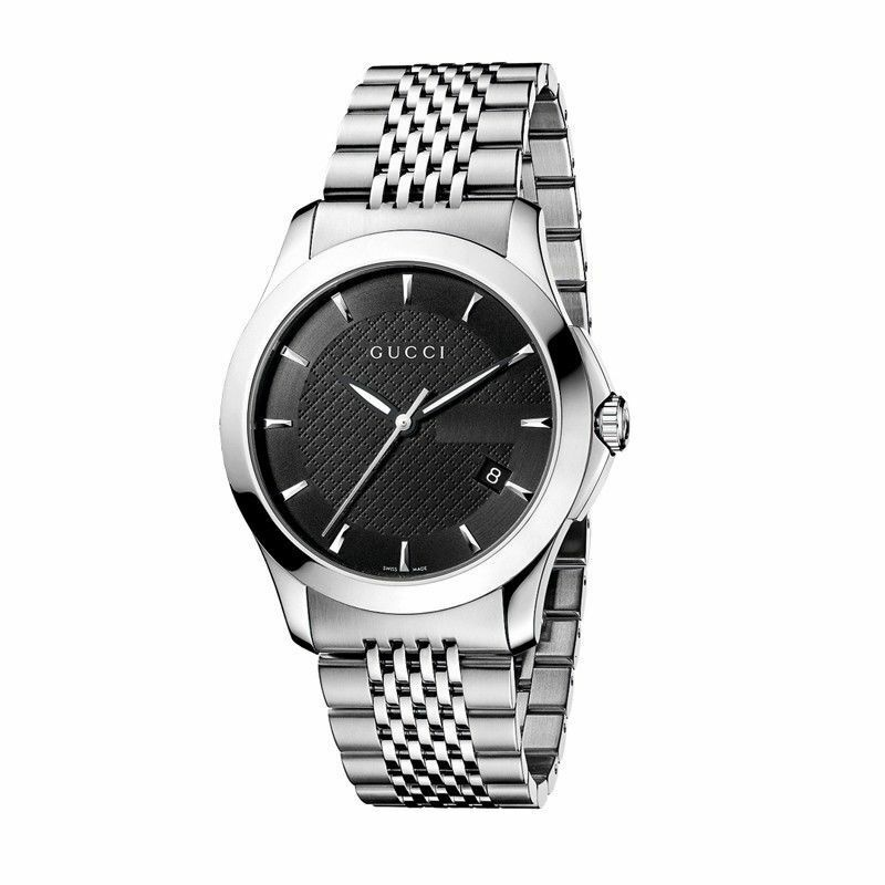 be9aa8c7d62 New Gucci G-Timeless Black Dial Stainless Steel Bracelet YA126402 Mens Watch