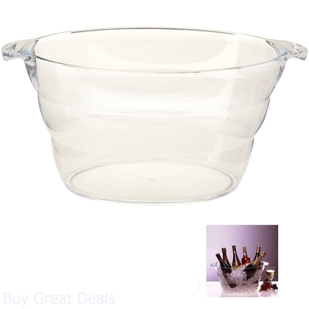 Ice Bucket Wine Cooler Party Tub Large Clear Water Beer Bar Beverage Cold Soda
