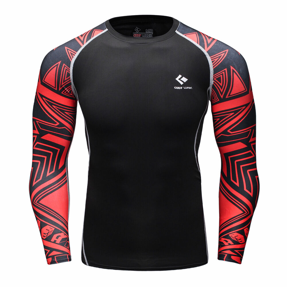 Black Red Graphics Compression Tight Shirt Top Base Layer