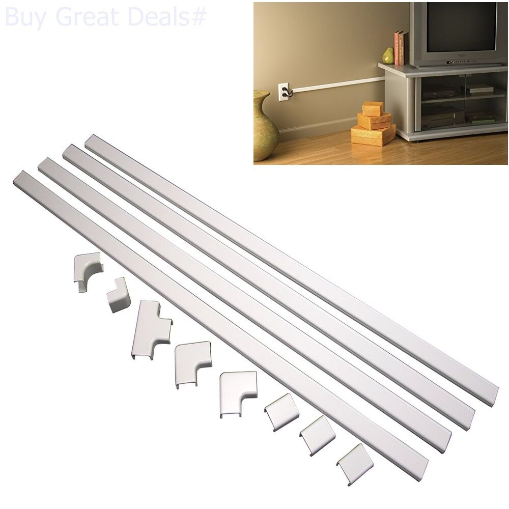 cord cable hiding raceway kit cover video cables power speaker wire management 86698000492 ebay. Black Bedroom Furniture Sets. Home Design Ideas