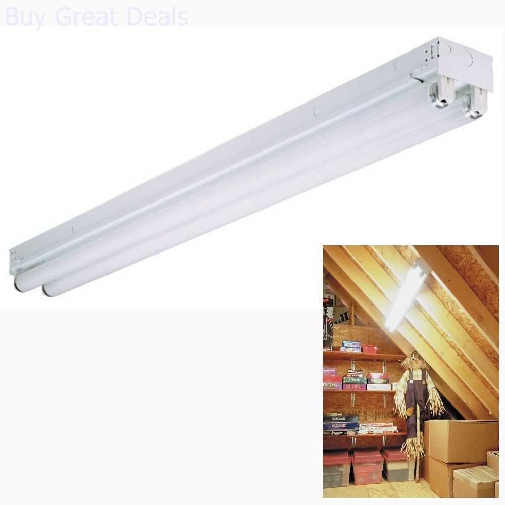 Fluorescent Light Fixture 48 Inch Shop Garage Lithonia