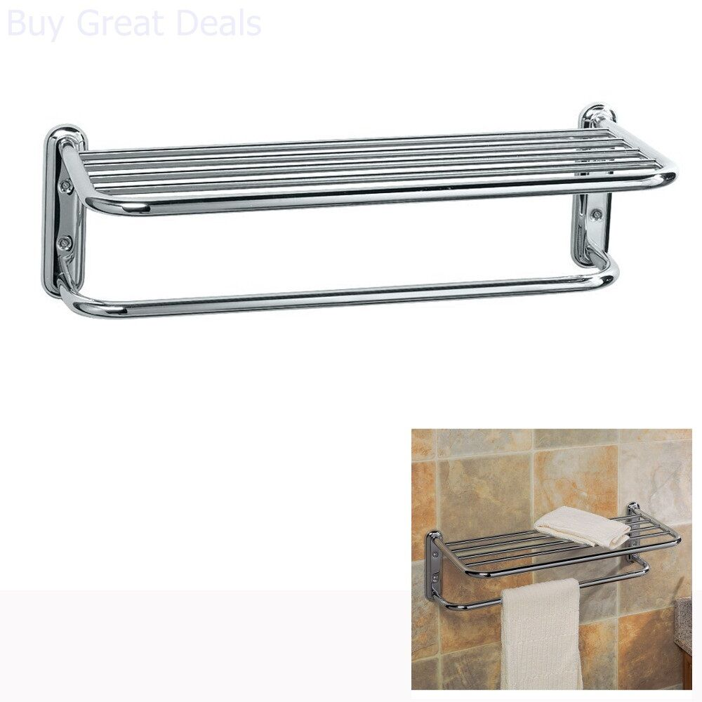Hotel Style Towel Rack Holder Shelf Bar Organizer Wall Mounted Bathroom Chrome Ebay