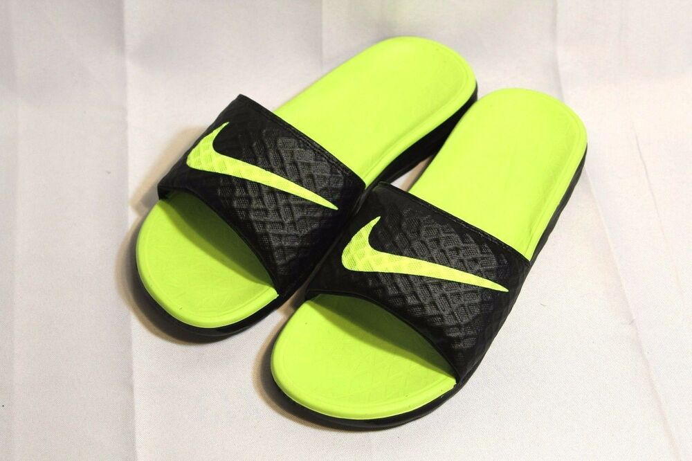 0428ac824f03 Details about NEW Men s Nike Benassi Solarsoft 2 black volt slides sandals
