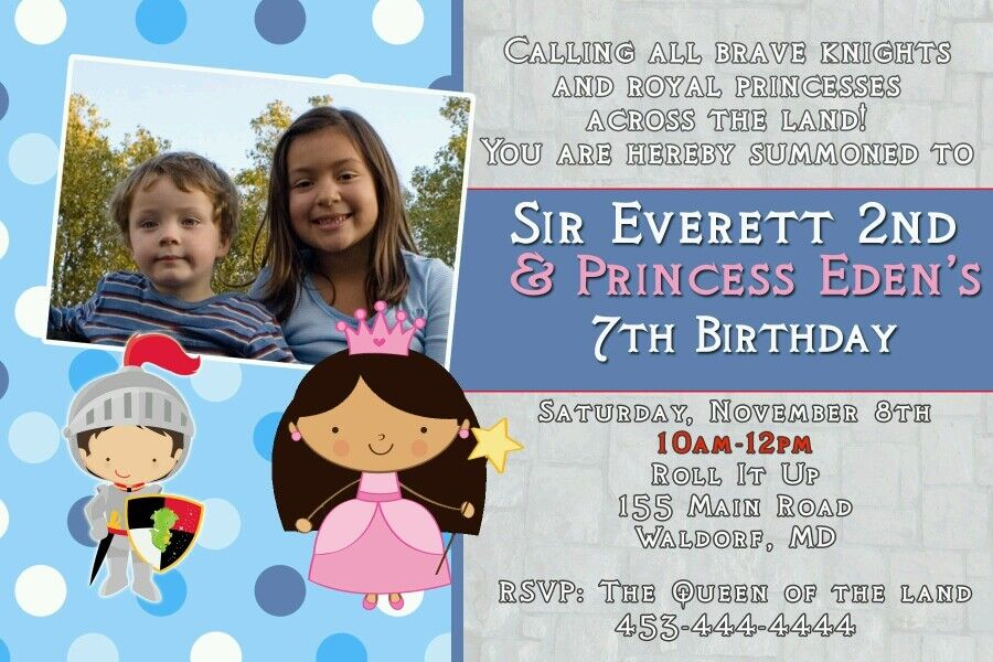 Details About 30 Invitations Princess Knight Joint Birthday Party Kids Boy Personalized