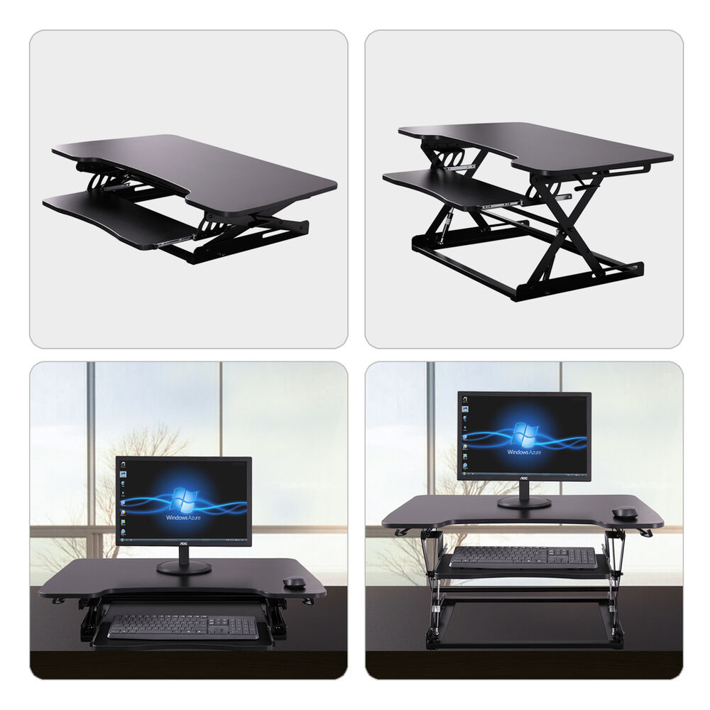 stand up computer desk adjustable laptop stand workstation table riser black ebay. Black Bedroom Furniture Sets. Home Design Ideas