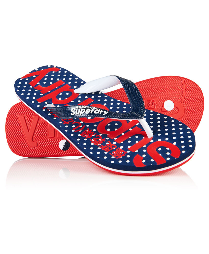 neue damen superdry allover print flip flops micro polka dot ebay. Black Bedroom Furniture Sets. Home Design Ideas