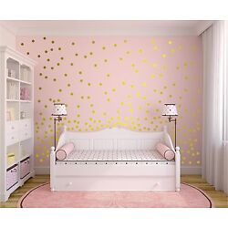Set of 243 Metallic Gold 2 Inches Polka Dot 2'' Wall Stickers - Polka Dot Decals