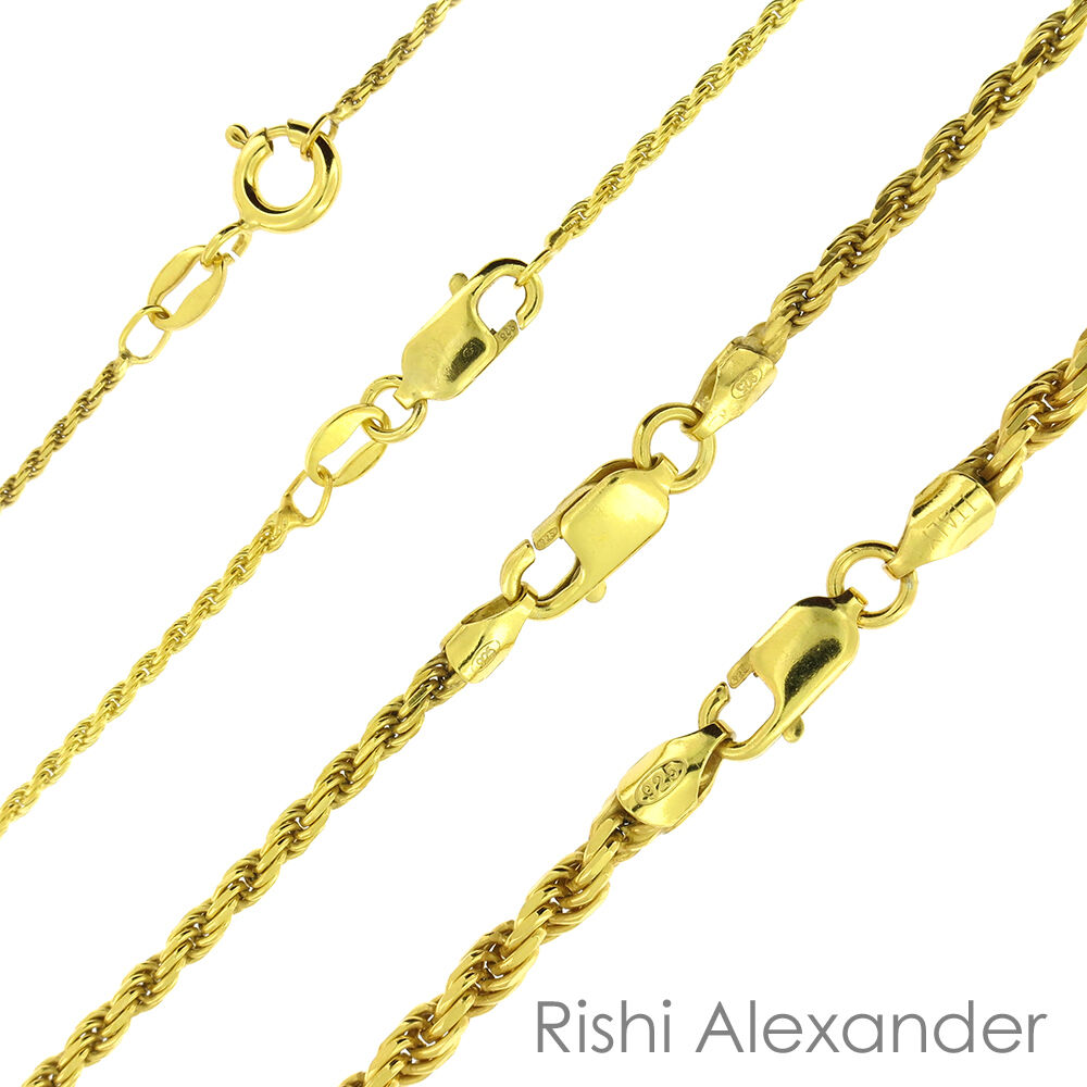 5b7755505dd8 14K Gold over 925 Sterling Silver Diamond Cut Rope Chain Necklace All Sizes