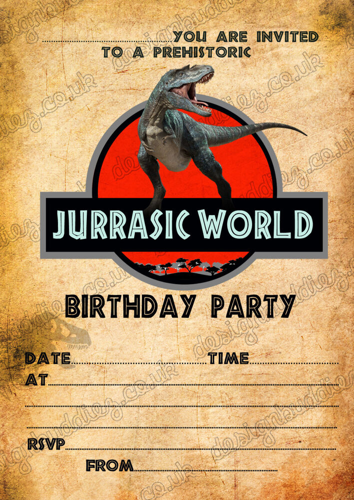 Birthday Party Invitations Jurassic World Dinosaurs T Rex X 8 Thick Cards 7434951377318