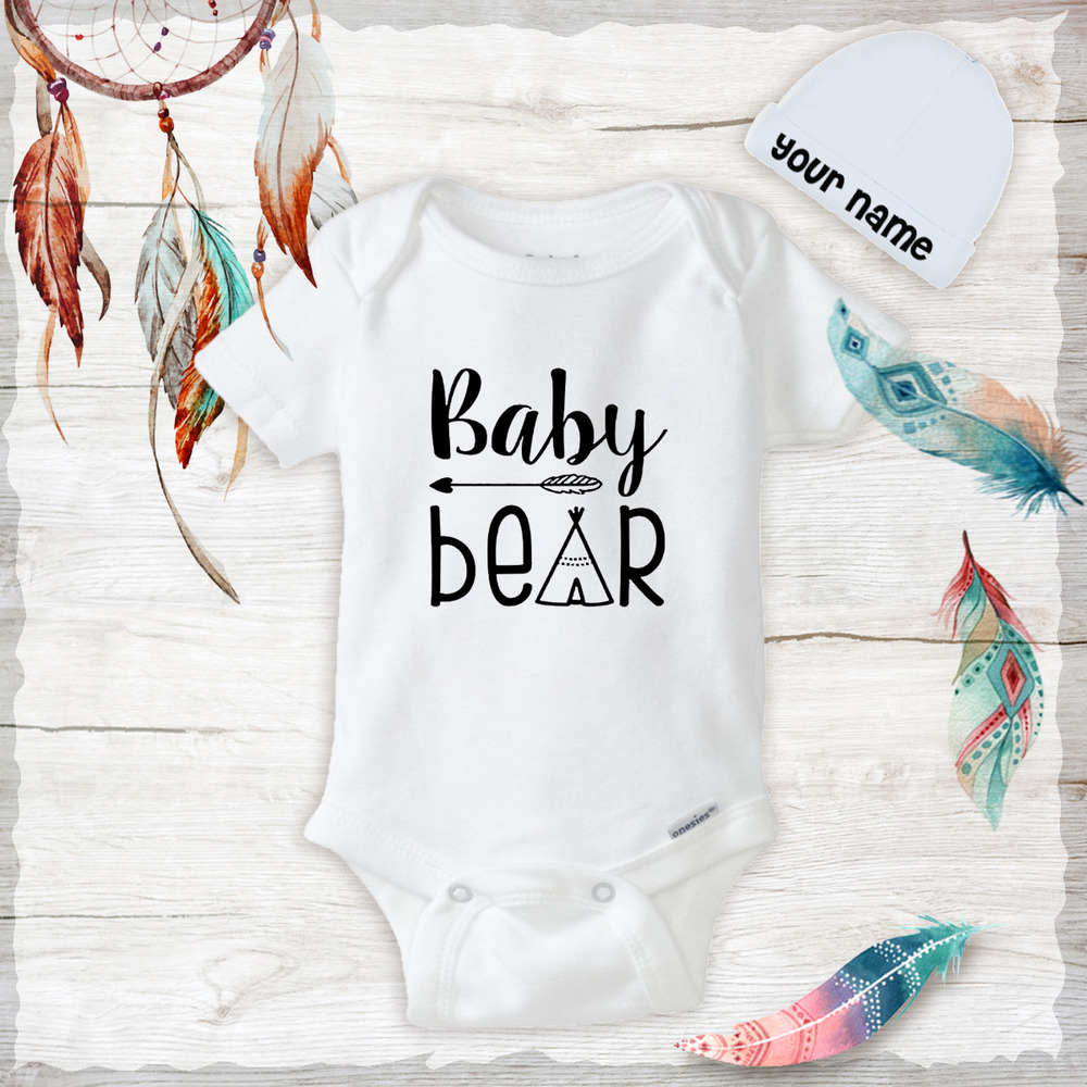 d7ce61556 Details about Baby Bear Tepee Boho Baby Clothes Onesies Hat Baby Shower  Gift newborn Funny