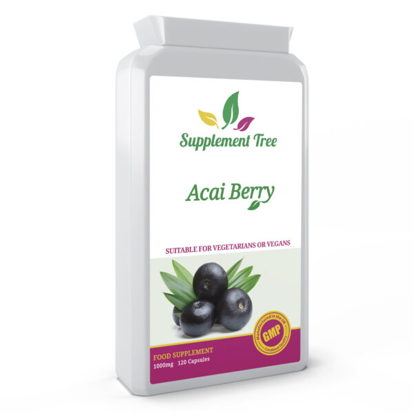 Acai Berry 1000mg 120 Capsules; High Strength Antioxidant, Energy, Diet, Vegans