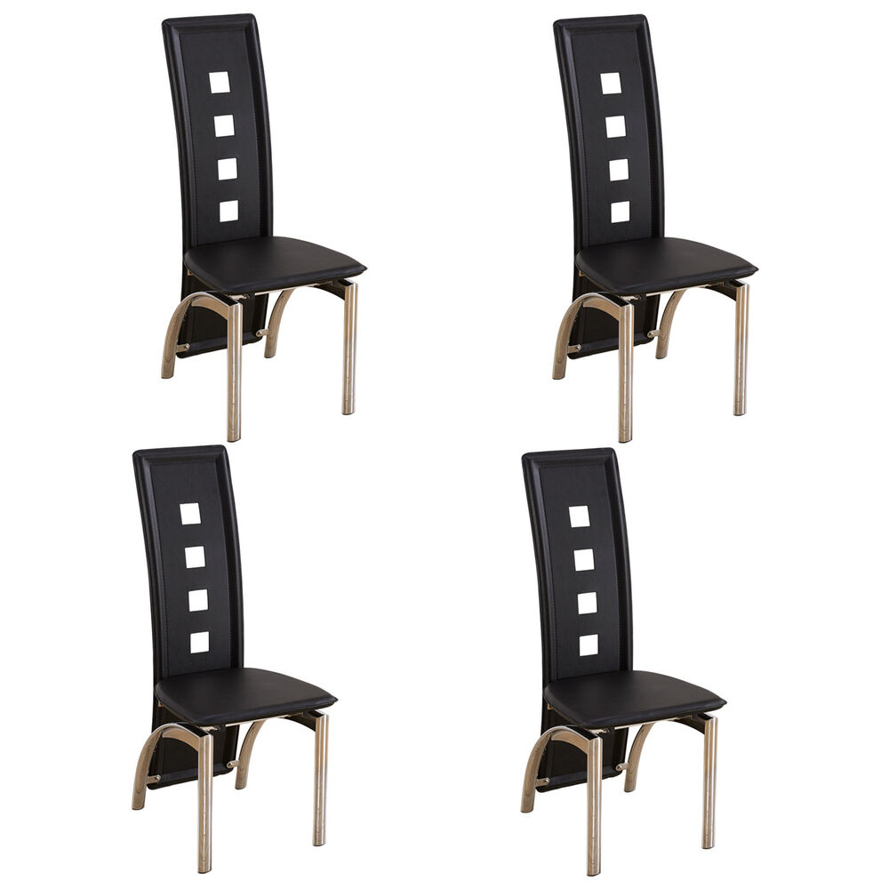 Black Dining Room Chair: 4Pcs Black Dining Chairs With Open Spots Backrest Leather