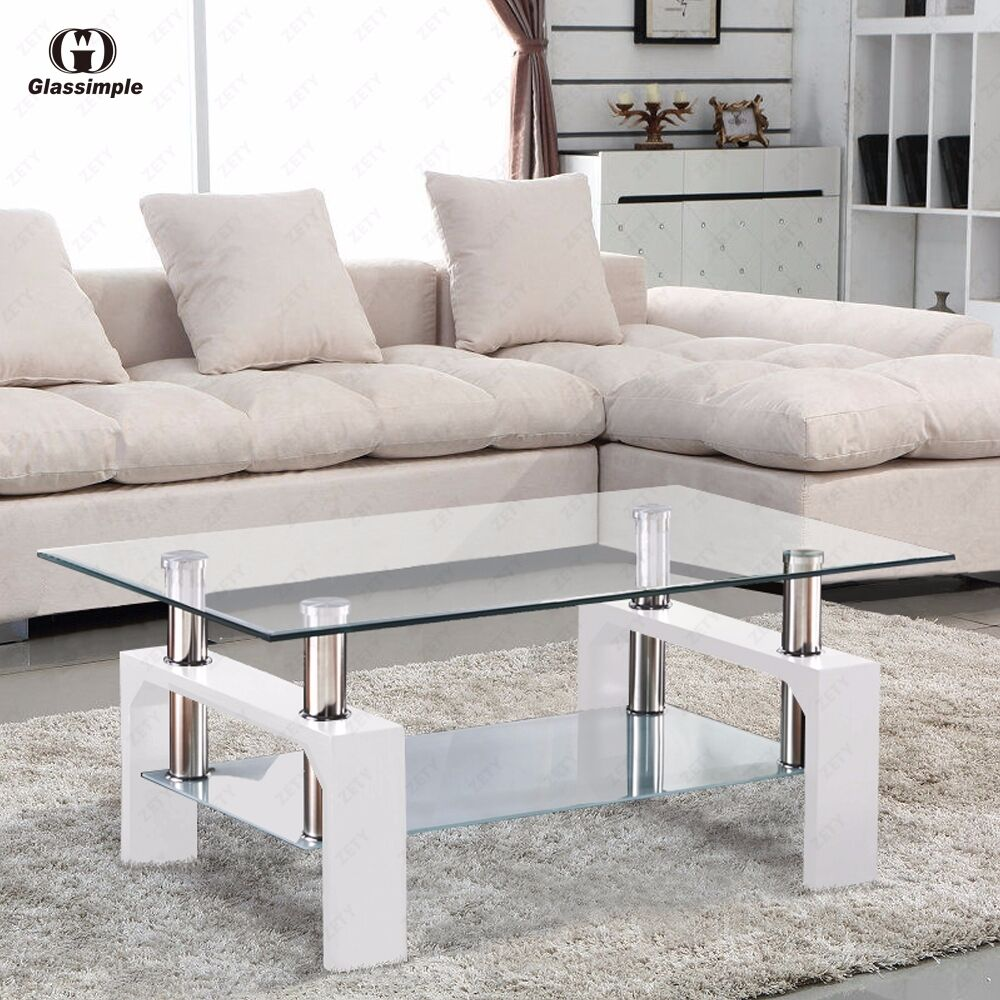 Details about modern rectangular glass coffee table with shelf white leg living room furniture