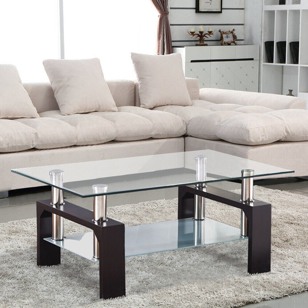 glass living room table rectangular glass coffee table shelf chrome walnut wood 12052