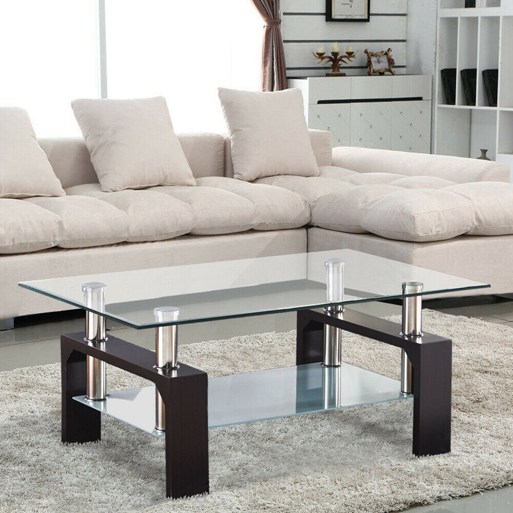 Modern Rectangular Glass Coffee Table Shelf W/ Leg Living