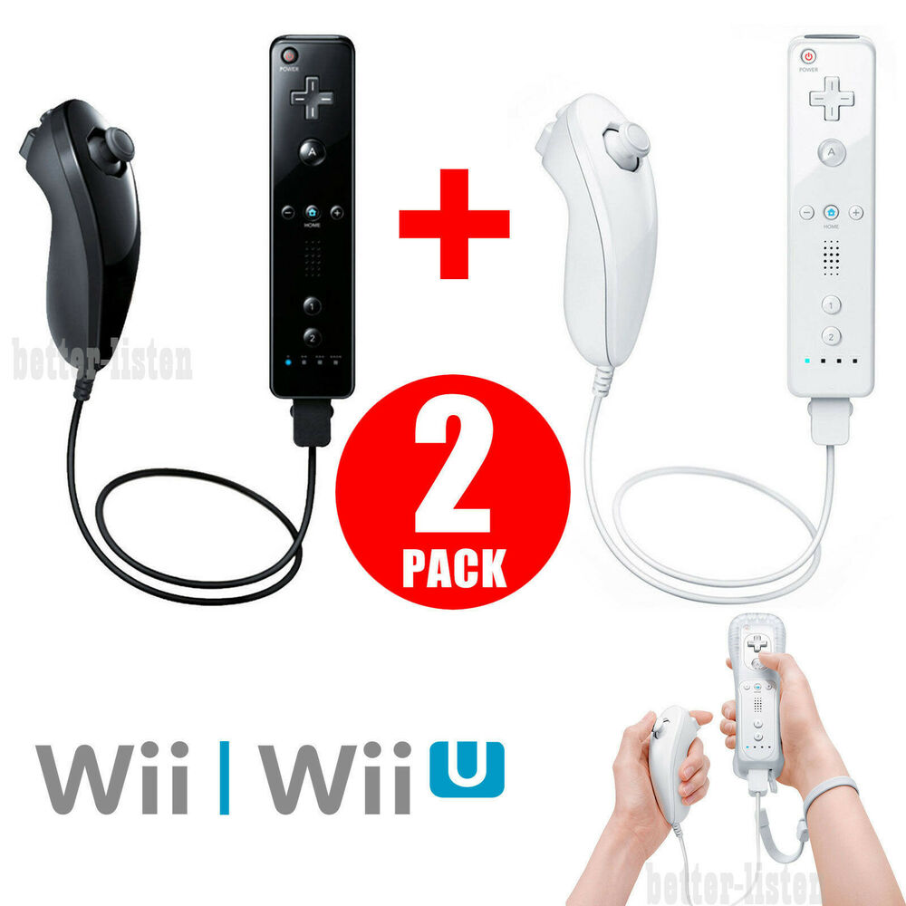 Wii And Wii U Games : Wii remote and nunchuck controller set motion plus for