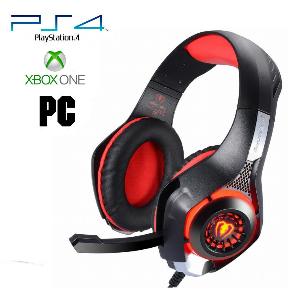 pro gamer ps4 headset for playstation 4 xbox one pc computer red headphones 3 761330776989 ebay. Black Bedroom Furniture Sets. Home Design Ideas