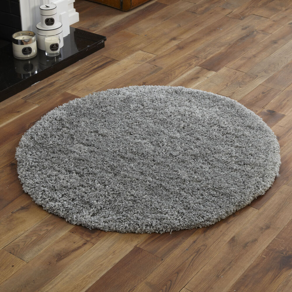 Quality silver soft shaggy round rug 133cm 5cm thick non shed modern circle rug 5055747002416 ebay