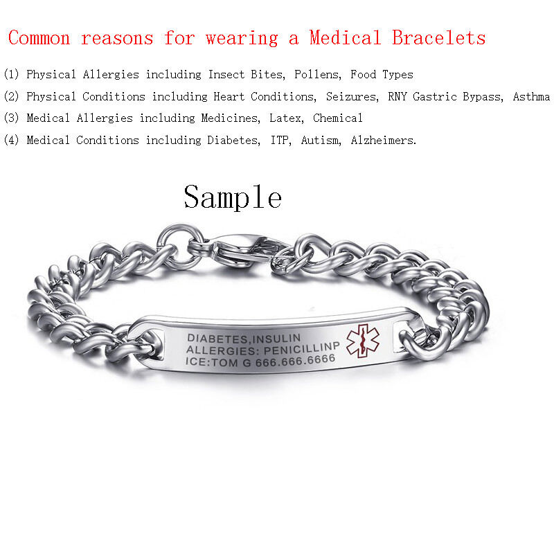 Details About Free Engraving Name Bracelets Medical Alert Id For Women Surgical Steel Jewelry