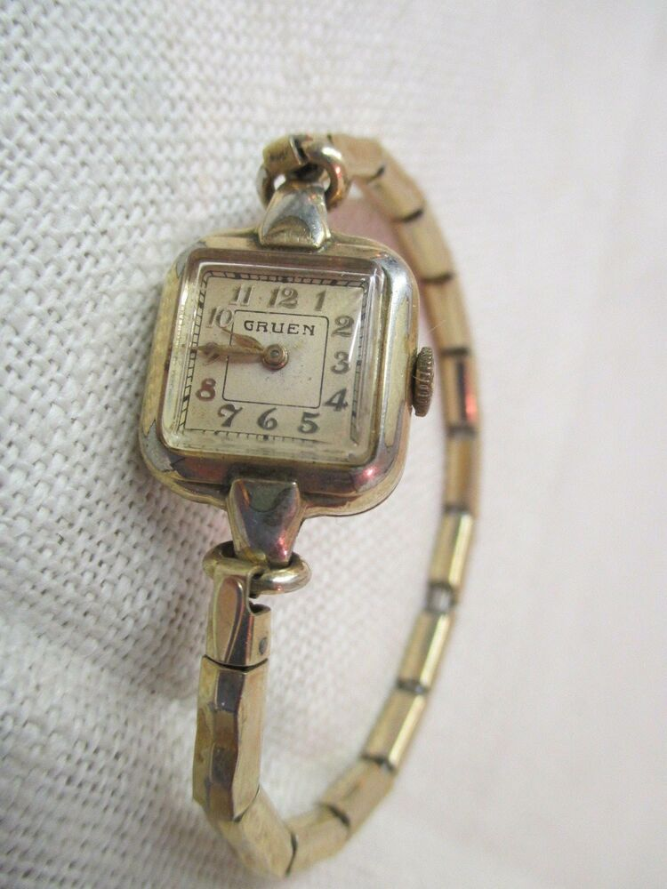 vintage gruen ladies watch 14k gold filled 15 jewels 1 20 10k gf foster band ebay. Black Bedroom Furniture Sets. Home Design Ideas