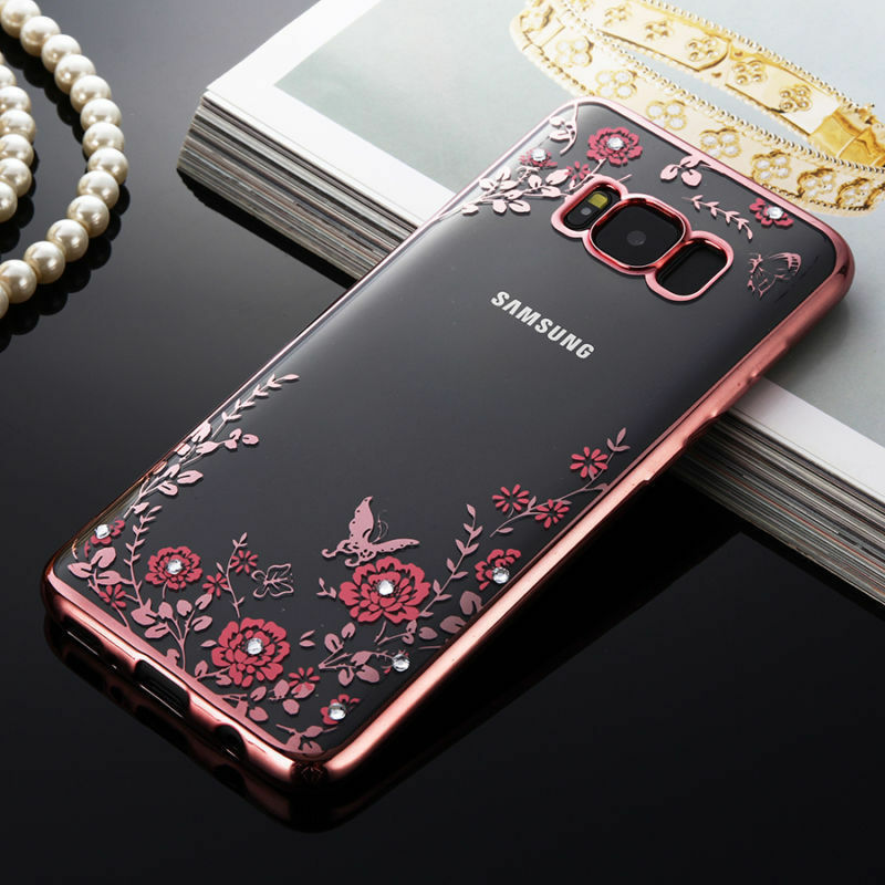 bling diamond slim gel clear flower back case cover for. Black Bedroom Furniture Sets. Home Design Ideas