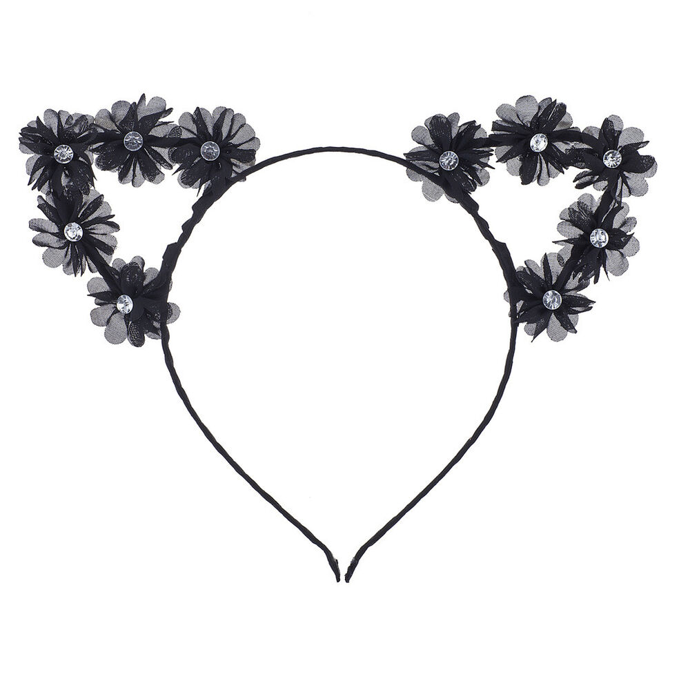 6bb1beab06dd0 Details about Lux Accessories Black Cat Ear Devil Ear Cosplay Flower Crown  Headband for Girls