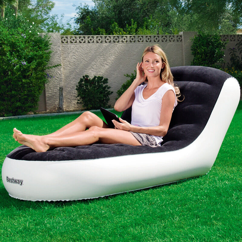 Inflatable Lawn Furniture: Luxury Flocking Inflatable Lounger ]Dorm Indoor Outdoor