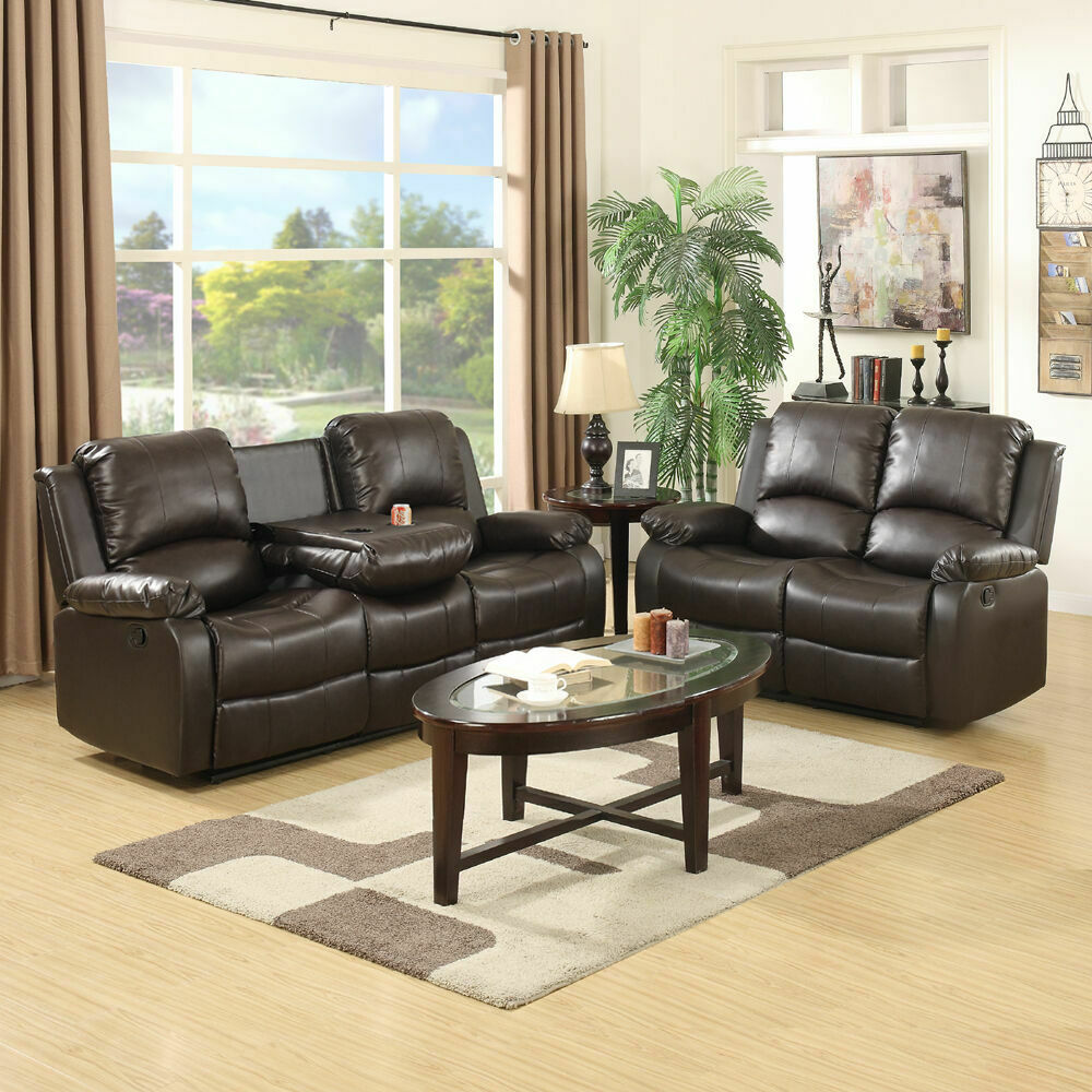 Leather Recliner Sofa Set Loveseat Chaise Couch 3 2 Seaters Brown