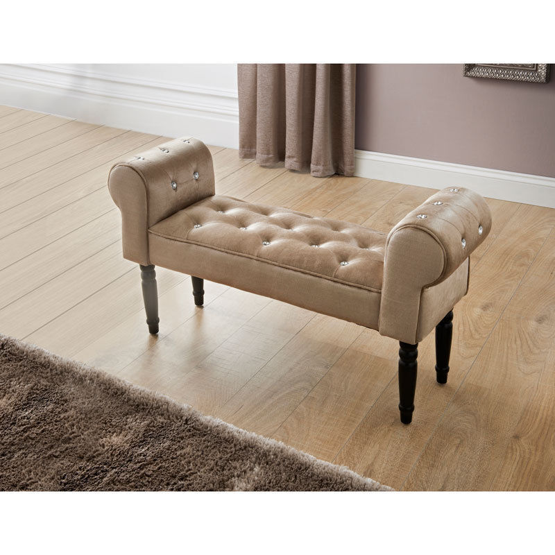sofa style champagne color chaise lounge modern velvet display bench