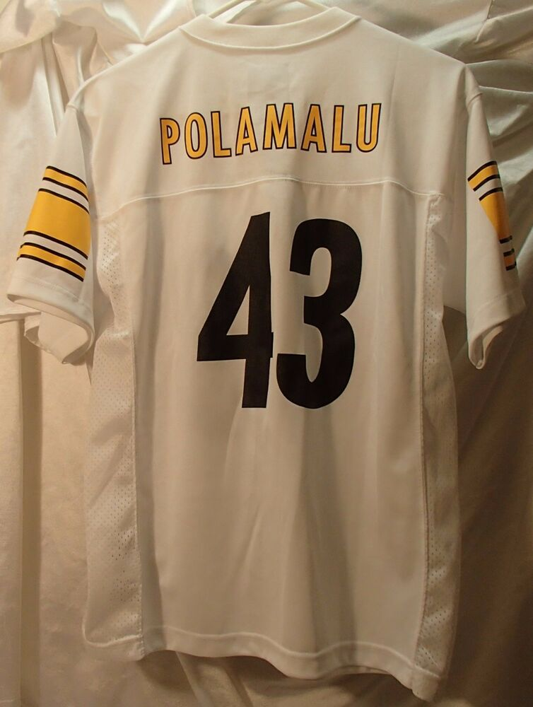 522c94460 Pittsburgh Steelers Troy Polamalu White NFL Football Jersey Youth Size  Large | eBay