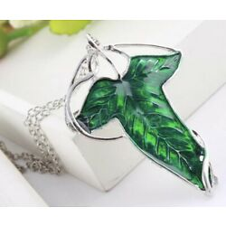 Lord of The Rings Green Leaf Of Lorien Elven Pin Brooch Necklace 2.5  US Seller