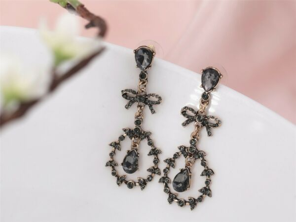 Boucles d'Oreilles Clous Doré Chandelier Gris Noeud Papillon Bow Fin Art Deco X8